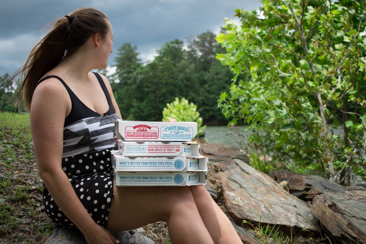 Alex Berger from The Berger Bungalow ordered pizza at the lake